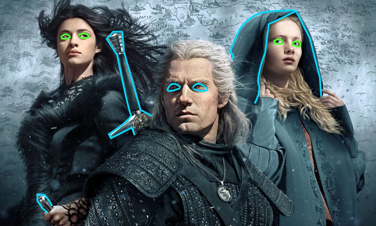 Henry Cavill, Freya Allan, and Anya Chalotra in Netflix's The Witcher