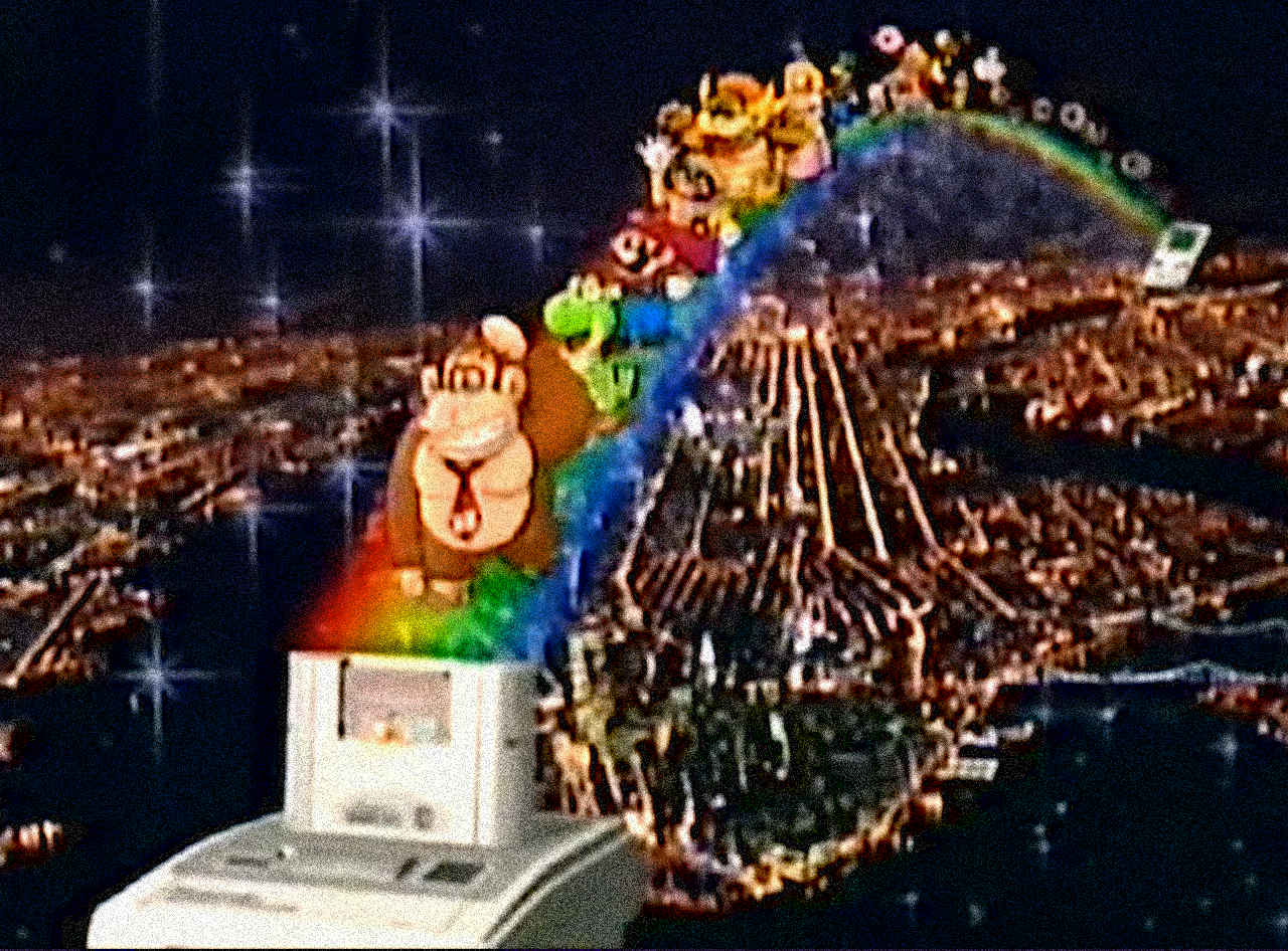 Nintendo characters walk down a rainbow into the Super Game Boy