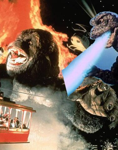 Godzilla blasts King Kong from behind!