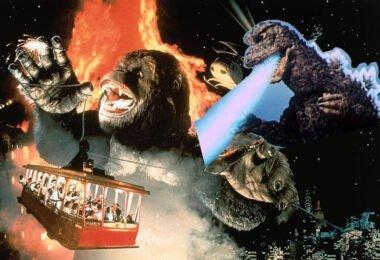 Godzilla blasts King Kong from behind!
