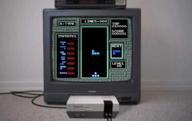 Tetris playing on an old TV and NES