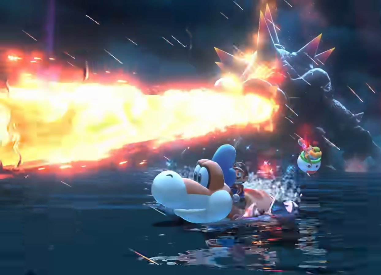 Bowser shoots atomic breath at Mario