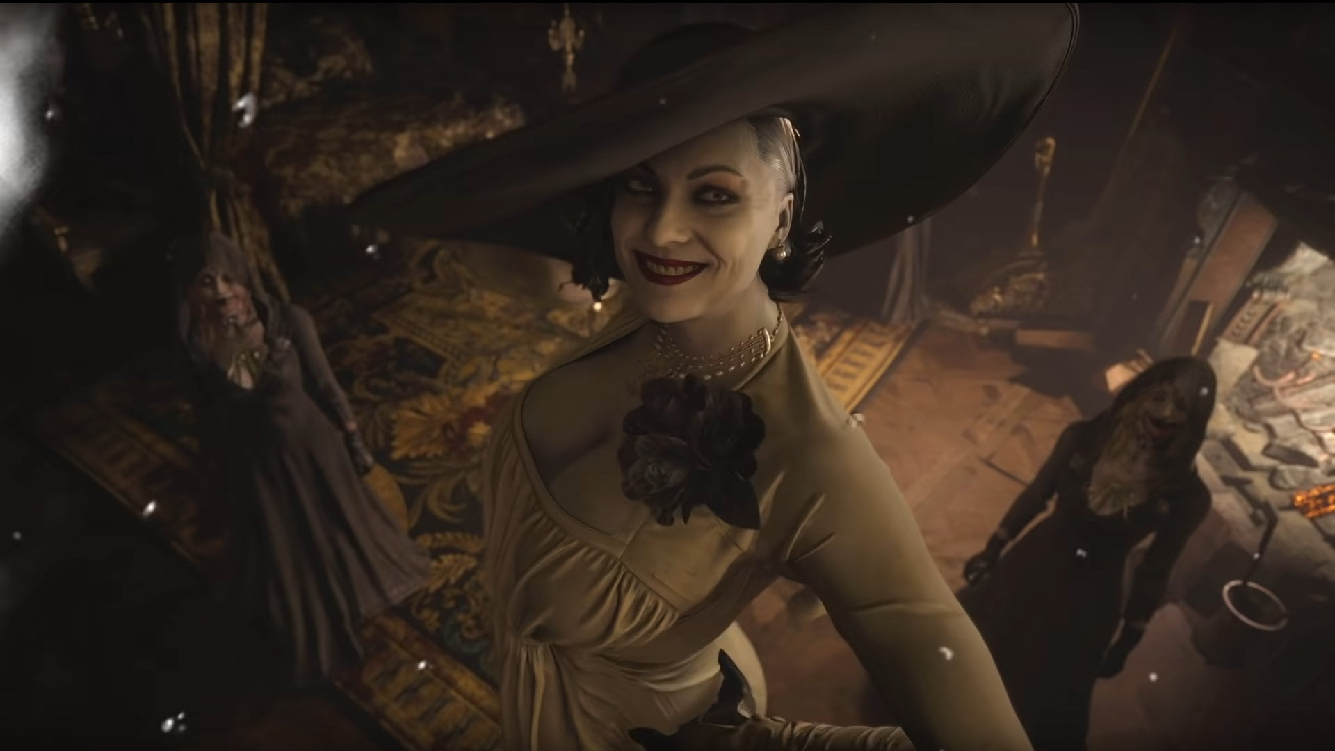 A very tall vampire lady in Resident Evil 8