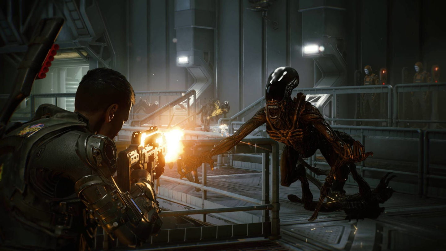 An alien lunges at the player