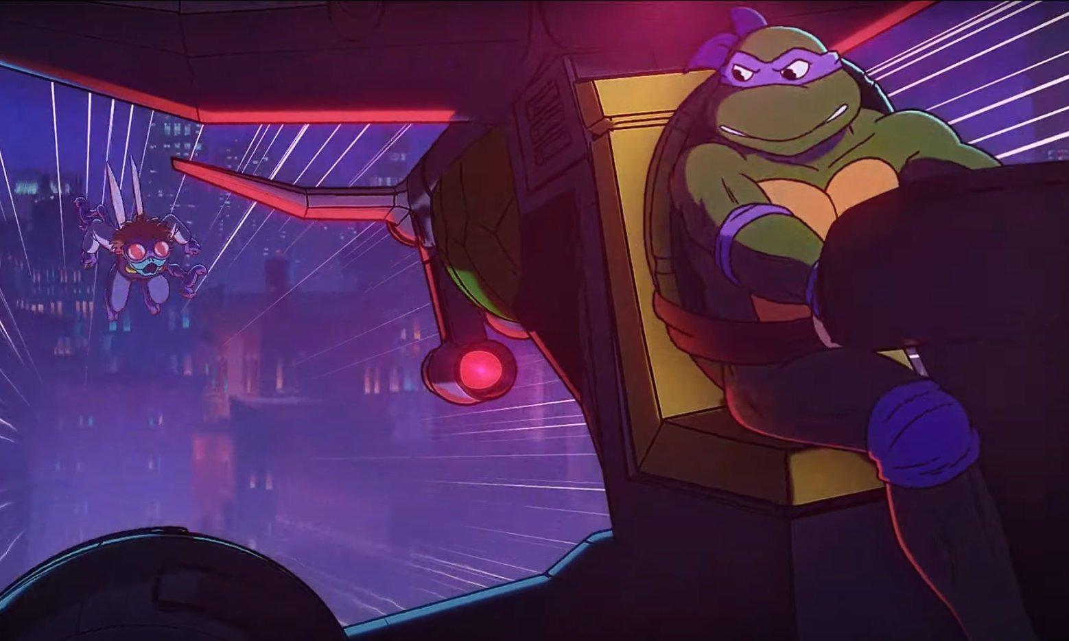 Donatello flies away from Baxter Stockman