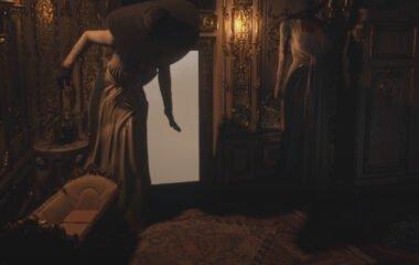 Lady Dimitrescu crouches through a doorway