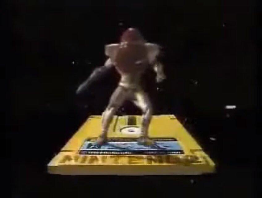 Samus Aran rides a disk