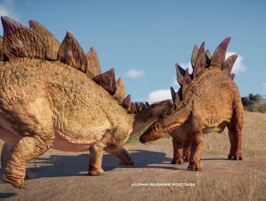 Stegosaurs fighting