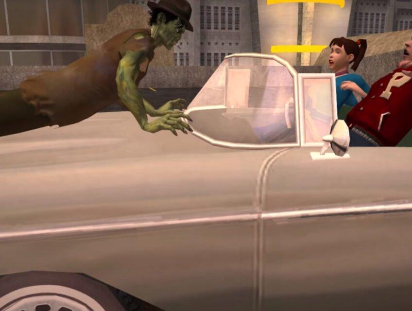 Stubbs hops onto the hood of a car