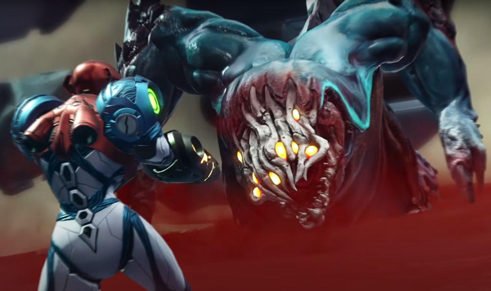 Samus fights a giant monster